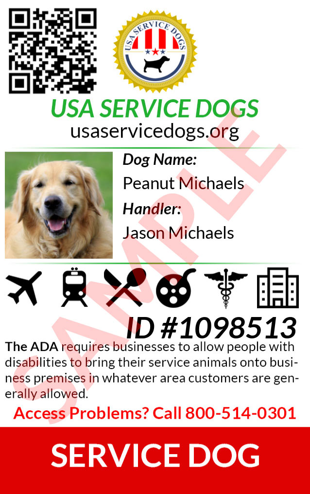 emotional support animal id card sample - usa esa
